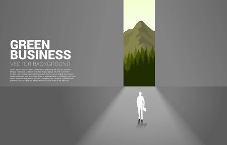 Silhouette of businessman move forward to nature outside. Concept for Green business take care Ecology and Environmental theme Ilustração