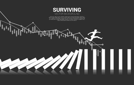 Silhouette of businessman jumping away on collapse domino. business concept of business disruption and domino effect