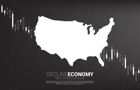 Candle down graph with USA map. Concept of decline economy in america.