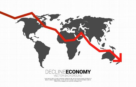 Downturn graph with world map and candle graph. Concept of decline global economy. Ilustração