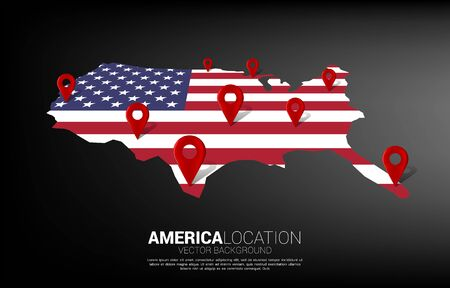 3D location pin marker on america map. Concept for USA GPS navigation system infographic . 矢量图像