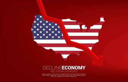 Downturn graph with USA flag in map. Concept of decline economy in america.