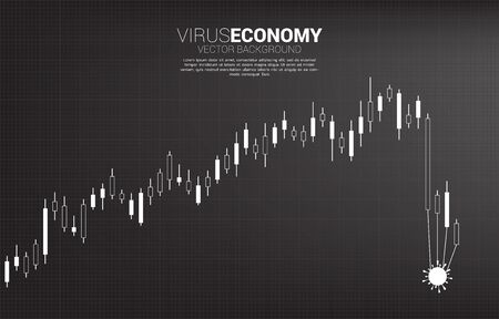 Downturn graph with covid19 virus pulling. Concept for fail and accidental business