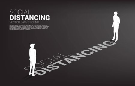 Silhouette of businessman standing with distance for avoid virus. Concept of social distancing and isolation.