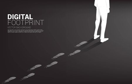 Businessman with Footprint from Footprint from digital dot pixel. business concept of digital transformation and digital footprint. business concept of digital transformation and digital footprint. Illustration