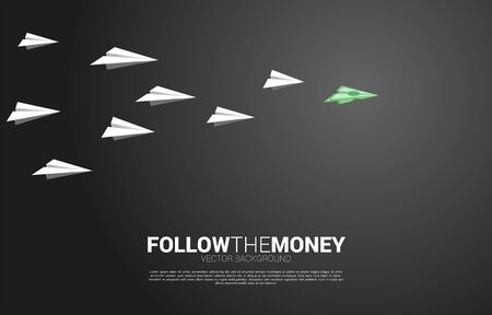 money banknote origami paper airplane lead white airplane. Business Concept of investor and venture capital.