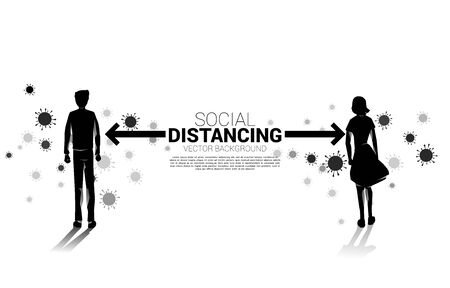 Silhouette of man and woman standing with distance for avoid virus. Concept of social distancing and isolation.