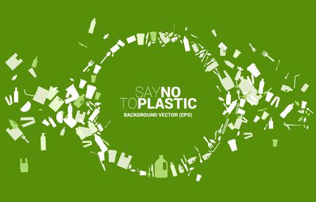 Circle shape from plastic package and product icon. background for take care and save the environment. Say no to plastic