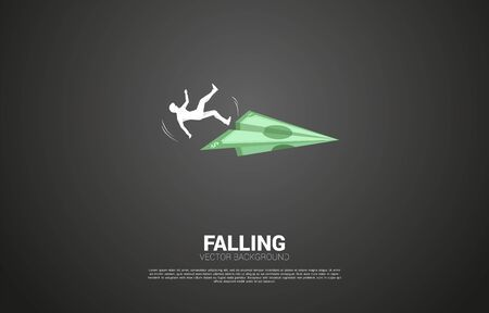 silhouette of businessman slip and falling down from money banknote origami paper airplane. Concept for fail and accidental business Illustration