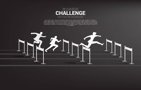 Silhouette businessman jumping across hurdles obstacle race. Background concept for competition and challenge in business