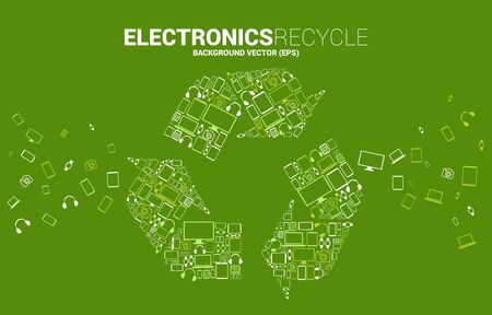 Recycle icon from electronic and mobile device icon. background for recycle and save the environment.