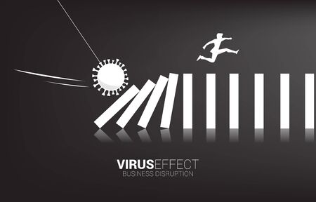 Silhouette of businessman jumping away on collapse domino from corona virus effect. business concept of business disruption and domino effect from pandemic.