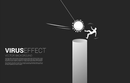 Silhouette of businessman falling down from corona virus attack. business concept of business disruption and domino effect from pandemic. Vektoros illusztráció