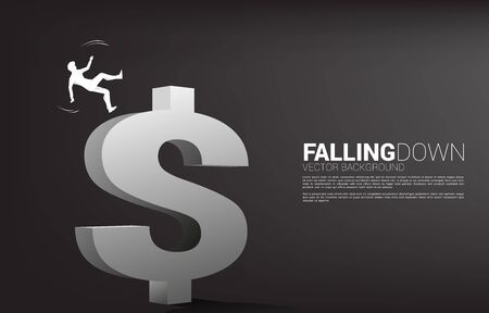 silhouette of businessman slip and falling down from dollar money icon. Concept for fail and accidental business