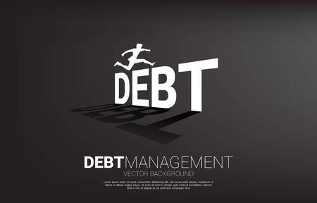 Silhouette businessman jumping across debt. Background concept for debt management and challenge in business