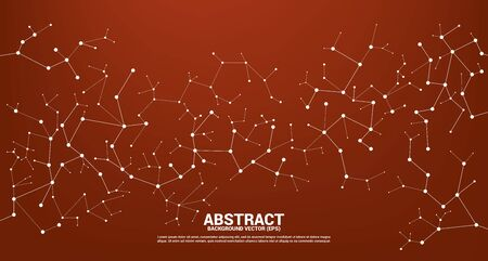 Red Network line Connecting dot molecule background. Concept of Network Business, technology, Data and chemical. Dot connect line abstract background represent futuristic network and data transformation
