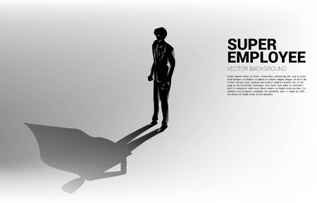Silhouette of businessman and his shadow of superhero.concept of empower potential and human resource management Illustration