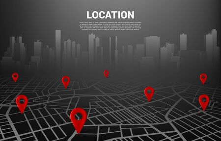 3D location pin marker on city road map. Concept for GPS navigation system infographic Vektorgrafik