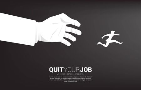 silhouette of businessman jump away from big boss hand. Concept for work stress, job pressure and quit you jobs.