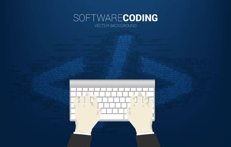 Businessman hand key in data with computer keyboard and HTML tag with one and zero digit matrix style. Concept for software development programming