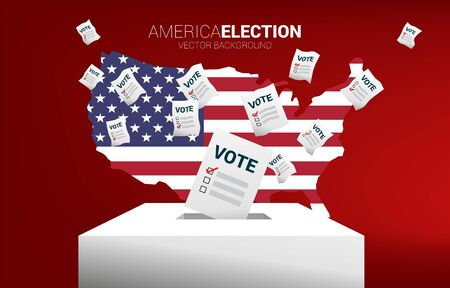 flying vote paper put in election box with America flag in map. concept for USA election vote theme background.