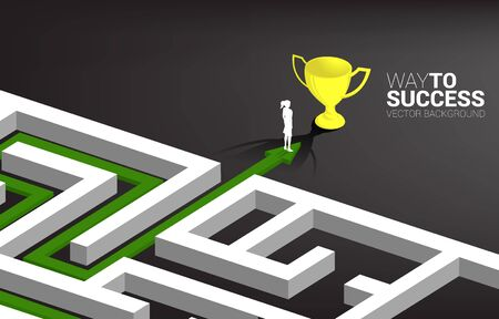 Silhouette of Businesswoman on Arrow with route path to exit the maze to golden trophy. Business concept for problem solving and solution strategy