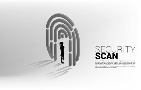 Businesswoman standing in finger scan icon. Background concept for security and privacy technology for identity data