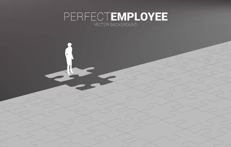 Silhouette of businessman standing on final jigsaw piece. Concept of perfect recruitment. Human Resource. put the right man on the right job. Illustration