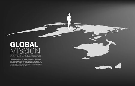 Silhouette of businessman standing on world map. Business Concept of world target mission. Illustration
