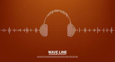 Sound wave Music Equalizer background. audio visual headphone icon with line wave graphic style