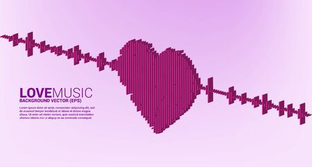 3D Sound wave heart icon Music Equalizer background. love song music visual signal