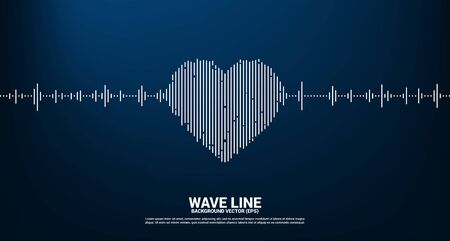 Sound wave heart icon Music Equalizer background. love song music visual signal