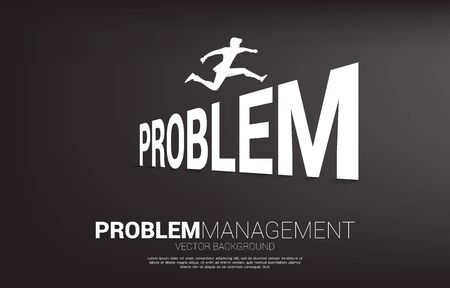 Silhouette businessman jumping across Problem. Background concept for crisis management and challenge in business Vetores