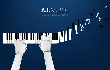 Pianist robot hand with piano key transform to music note. Background concept for artificial intelligence and music compose. Illustration
