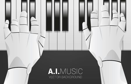 Pianist robot hand with piano key. Background concept for artificial intelligence and music compose.