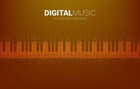 Piano key from pixel Sound wave Music Equalizer background. background for digital music.