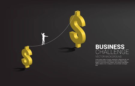 Silhouette of businessman walking on rope walk way to bigger money dollar icon.Concept for business risk and challenge. Illustration