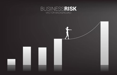 Silhouette of businesswoman walking on rope walk way to higher bar chart.Concept for business risk and challenge in career path Illustration