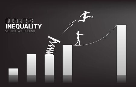 Silhouette of businessman jump to higher column of graph with springboard over other on rope walk. Concept of boost and growth in business. Business inequality.