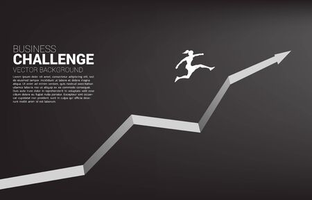 Silhouette of businesswoman jumping on growing graph. Concept of people ready to start career and business Illustration