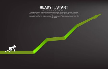 Silhouette of businesswoman ready to run from start line on growing graph. Concept of people ready to start career and business Illustration