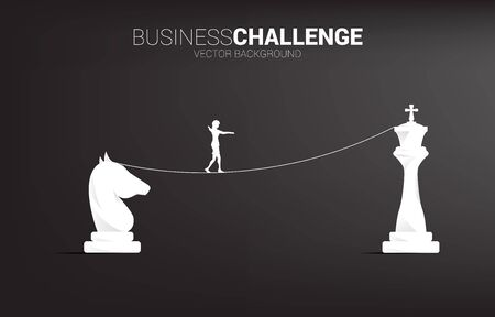 Silhouette of businesswoman walking on rope walk way to from knight to king chess.Concept for business challenge and strategy Illustration