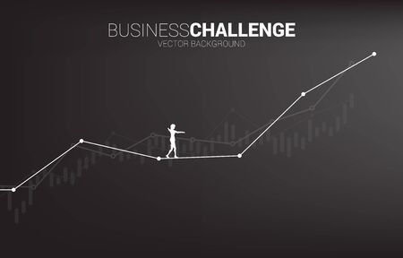 Silhouette of businesswoman walking on rope walk way up to growth line graph.Concept for business risk and challenge in career path Illustration