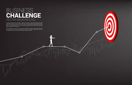 silhouette of businesswoman walk rope on line graph to center of dartboard. Concept of targeting and Business challenge.route to success. Illustration