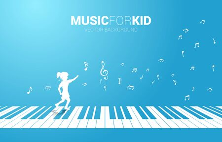 Vector silhouette of girl running with piano key with flying music note . Concept background music for kid and children. Illustration