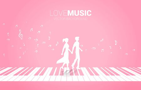 Lover couple holding hand walking on piano key with music melody note dancing flow . Concept background for love song and concert theme.