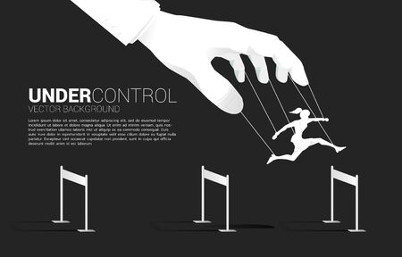 Puppet Master controlling Silhouette of businesswoman run and jumping across hurdles obstacle. Concept of manipulation and micromanagement