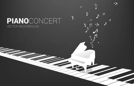 Vector grand piano with on piano key and music note. Concept background for song and concert theme.