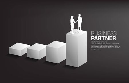 Silhouette of businessman handshake on growing graph. Concept of team work partnership and cooperation. Illustration