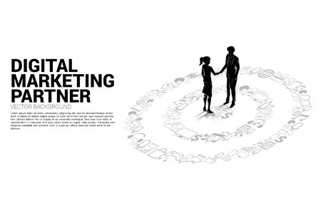 Silhouette of businessman and businesswoman handshake onat center of dartboard from marketing icon . Business Concept of marketing target and customer Illustration